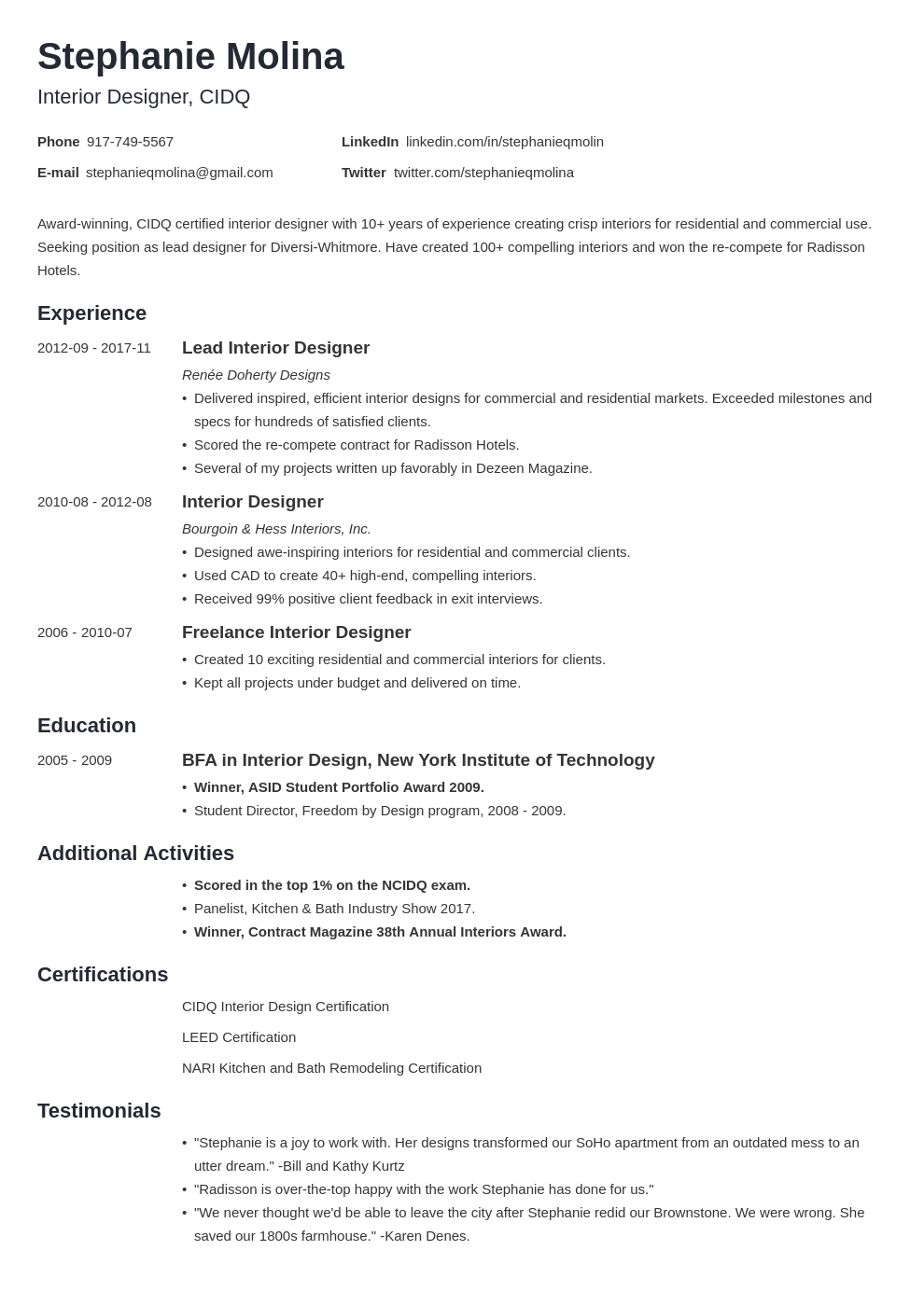 interior design resume example template minimo