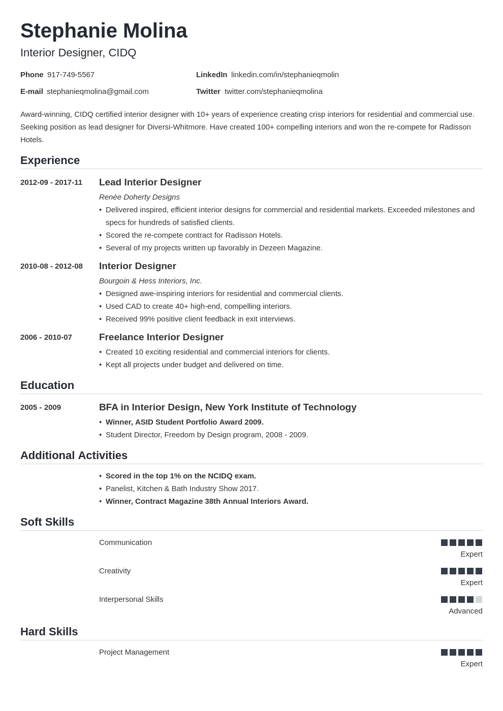 interior design resume example template nanica