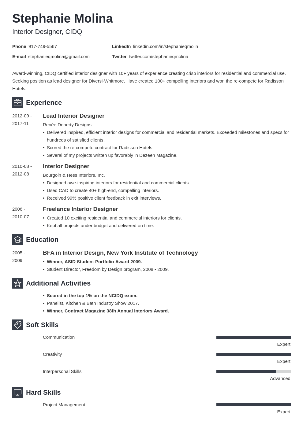 interior design resume example template newcast