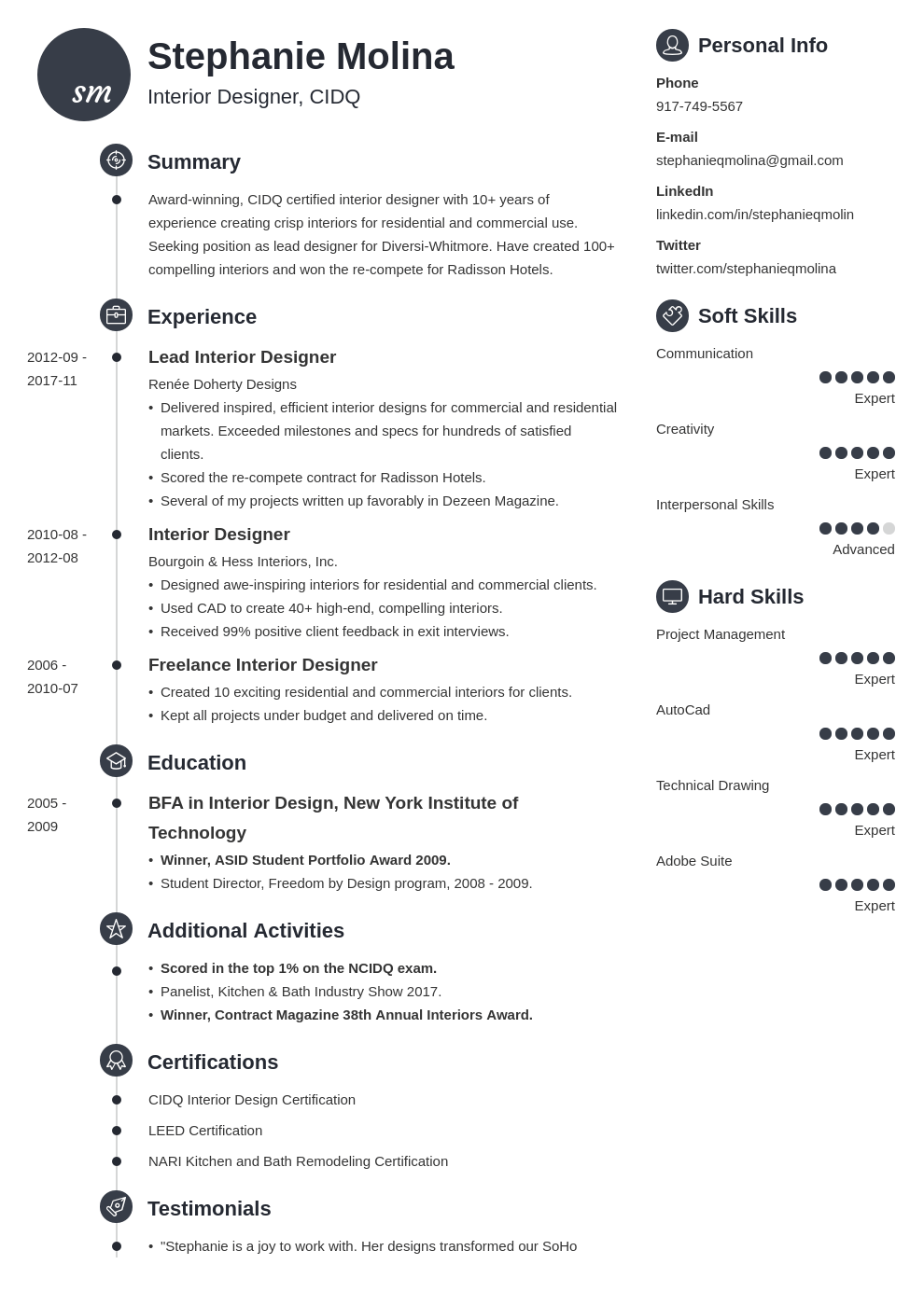 interior design resume example template primo