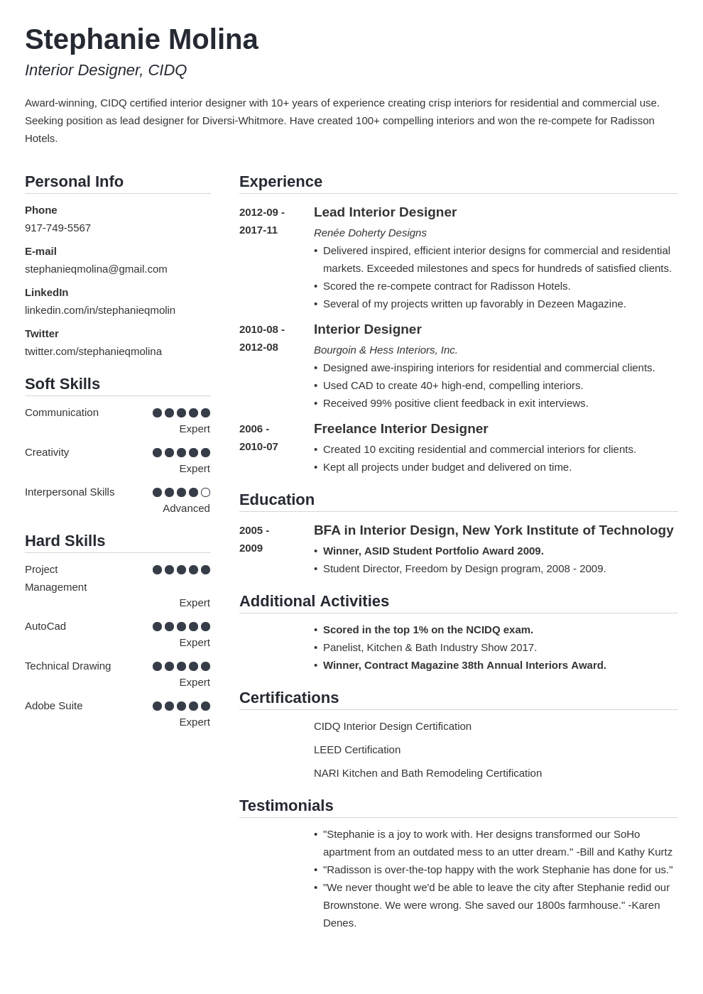 interior design resume example template simple