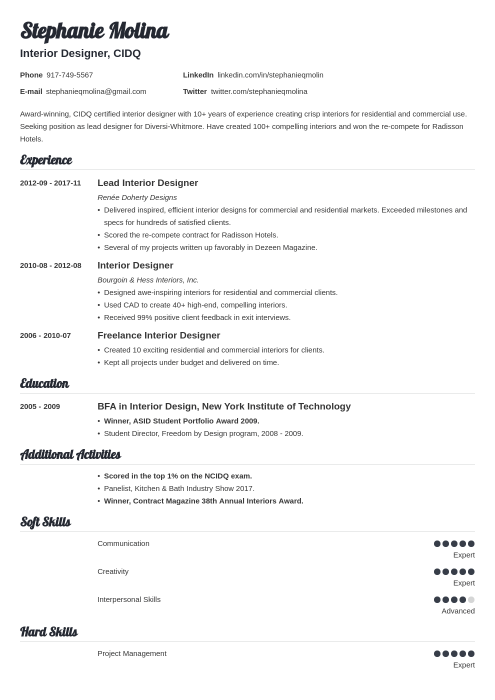 interior design resume example template valera