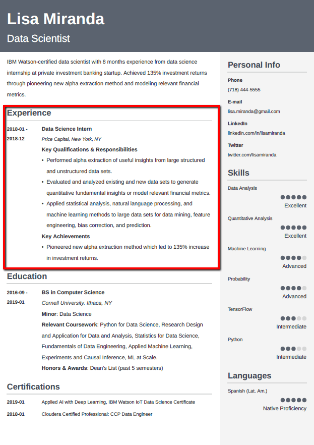 How To Put An Internship On A Resume Guide And Examples