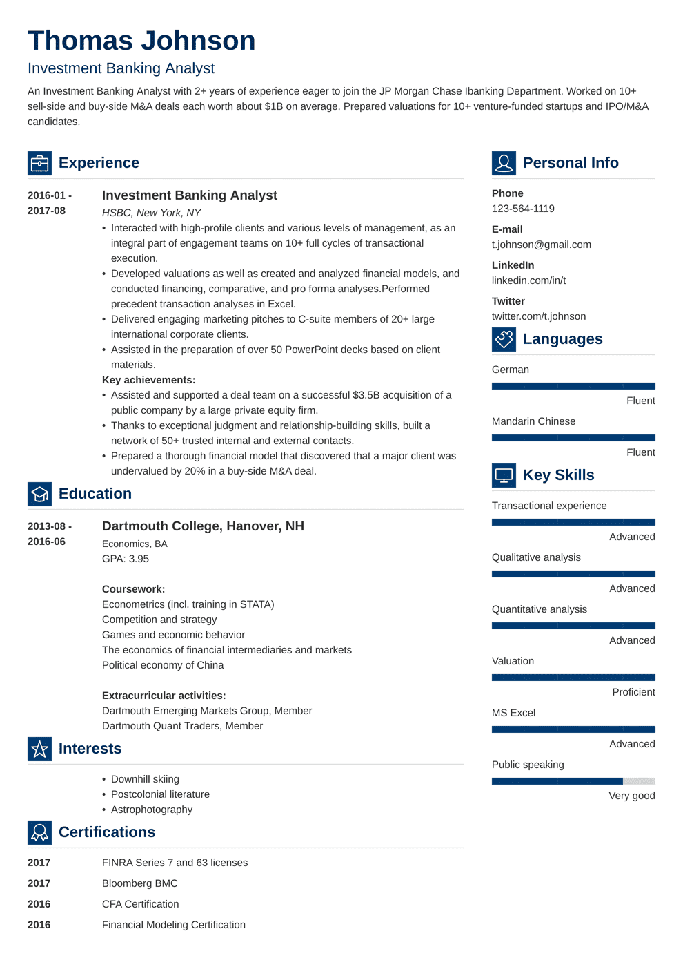 Investment Banking Resume: Sample and Writing Guide [20+ Examples]