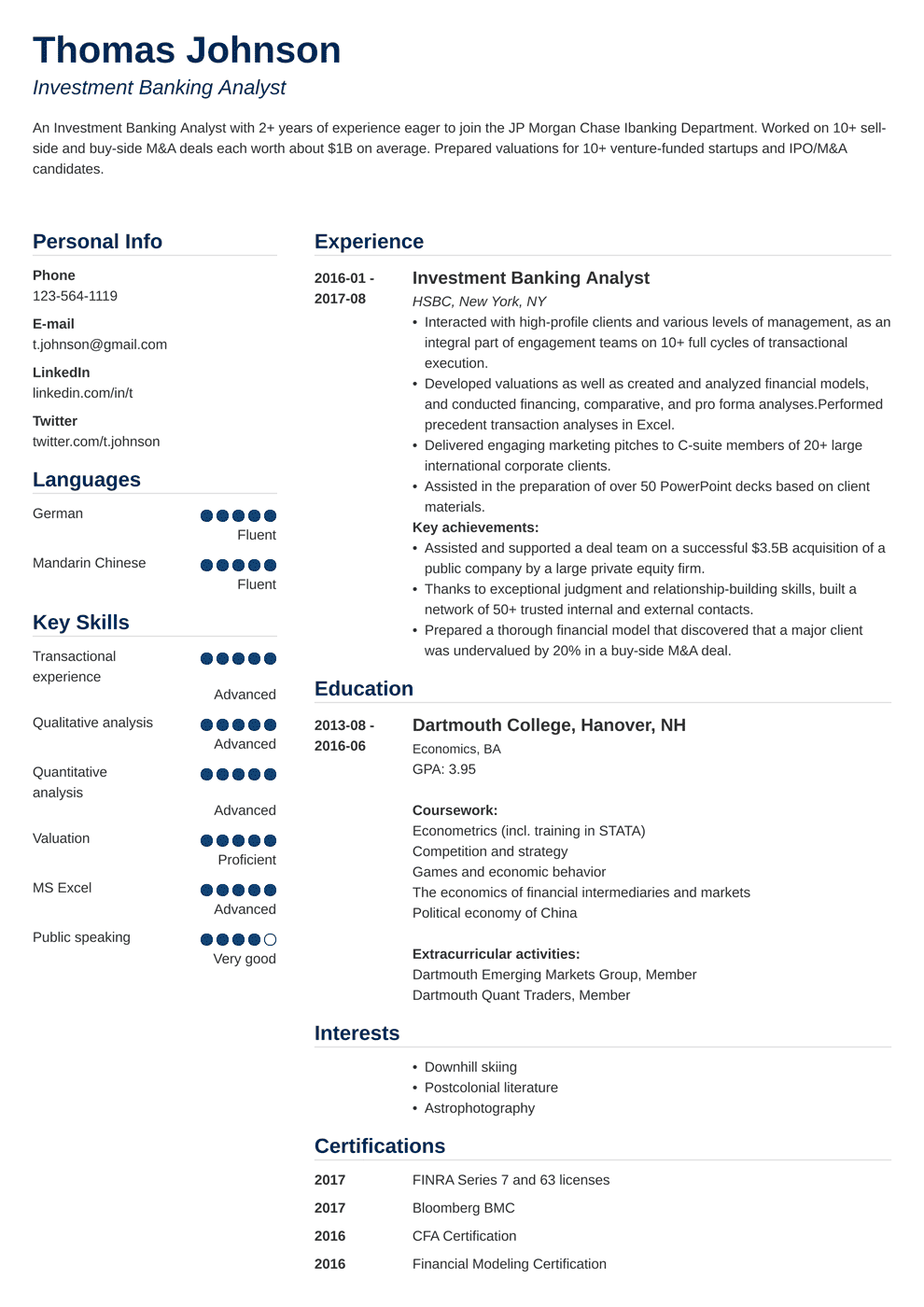 Investment Banking Resume Sample And Writing Guide 20