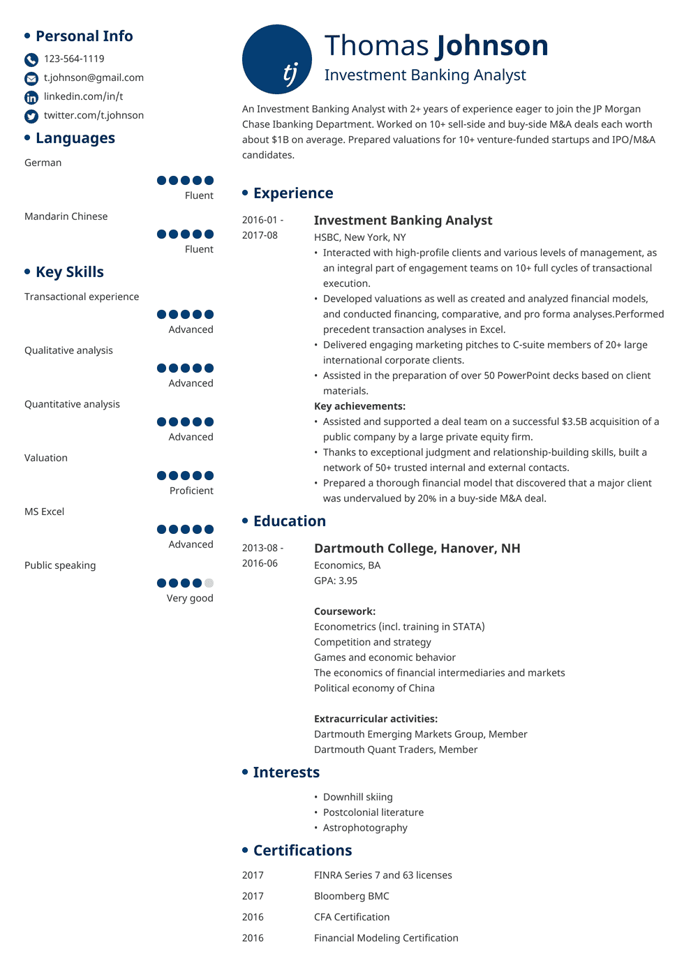 Investment Banking Resume Sample And Writing Guide 20 Examples