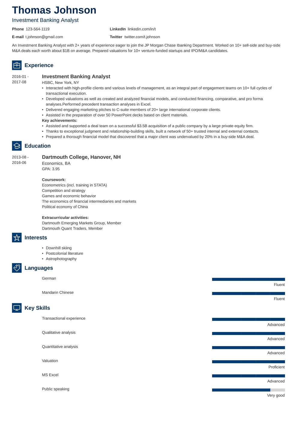 Investment Banking Resume: Sample and Writing Guide [20+