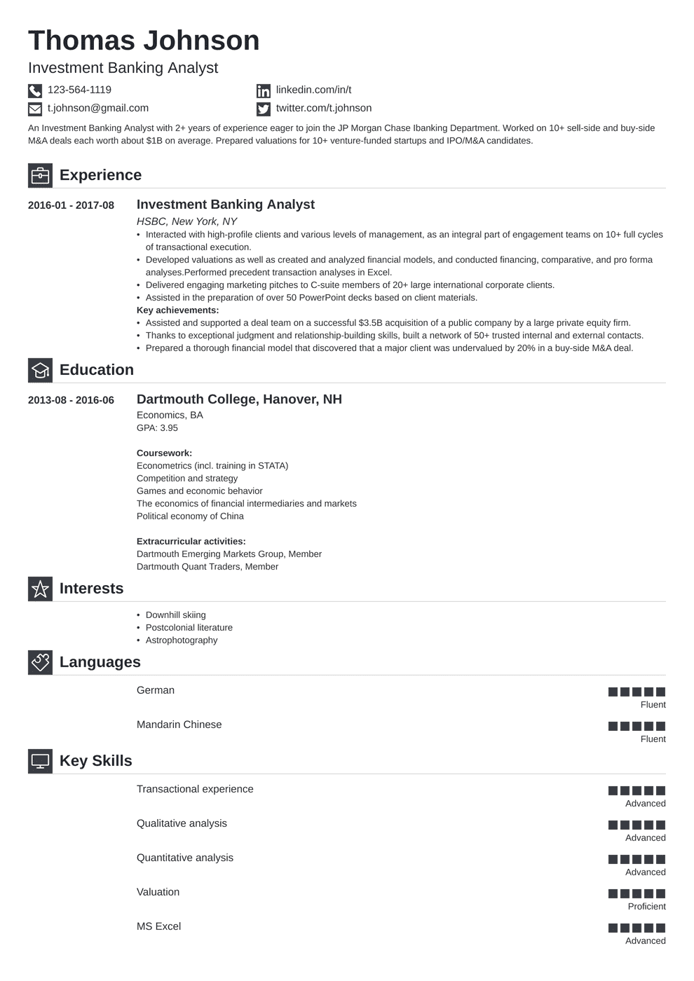 Investment Banking Resume: Sample and Writing Guide [20+ ...