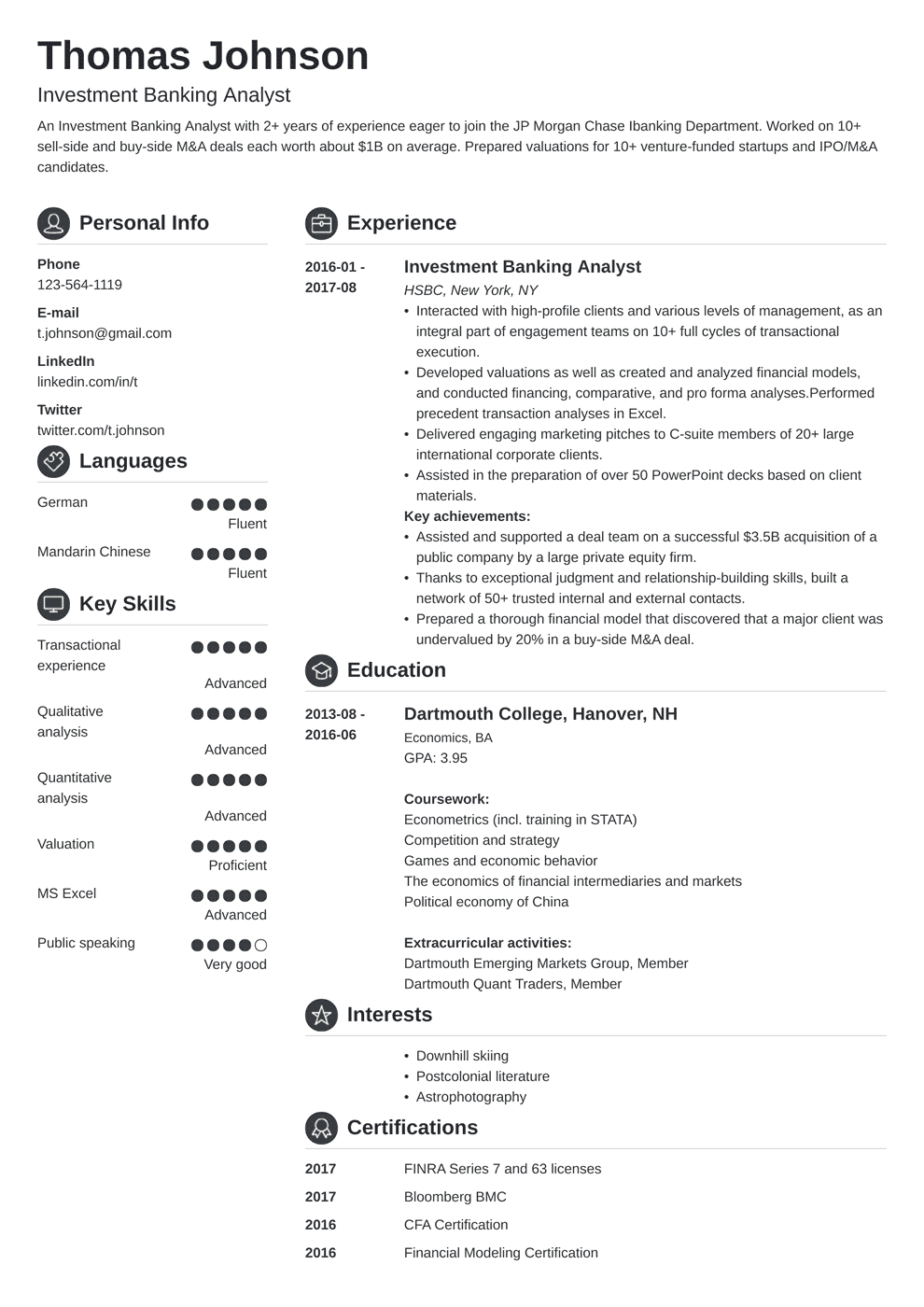 investment banking resume example