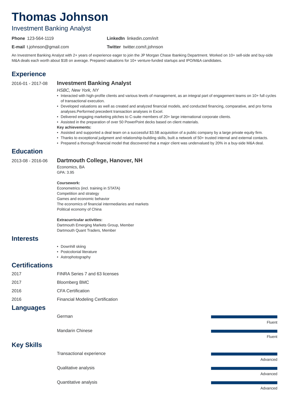 Investment Banking Resume Template & Guide [20 Examples]