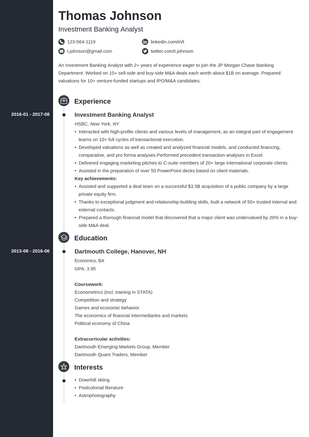 investment banker resume example template concept