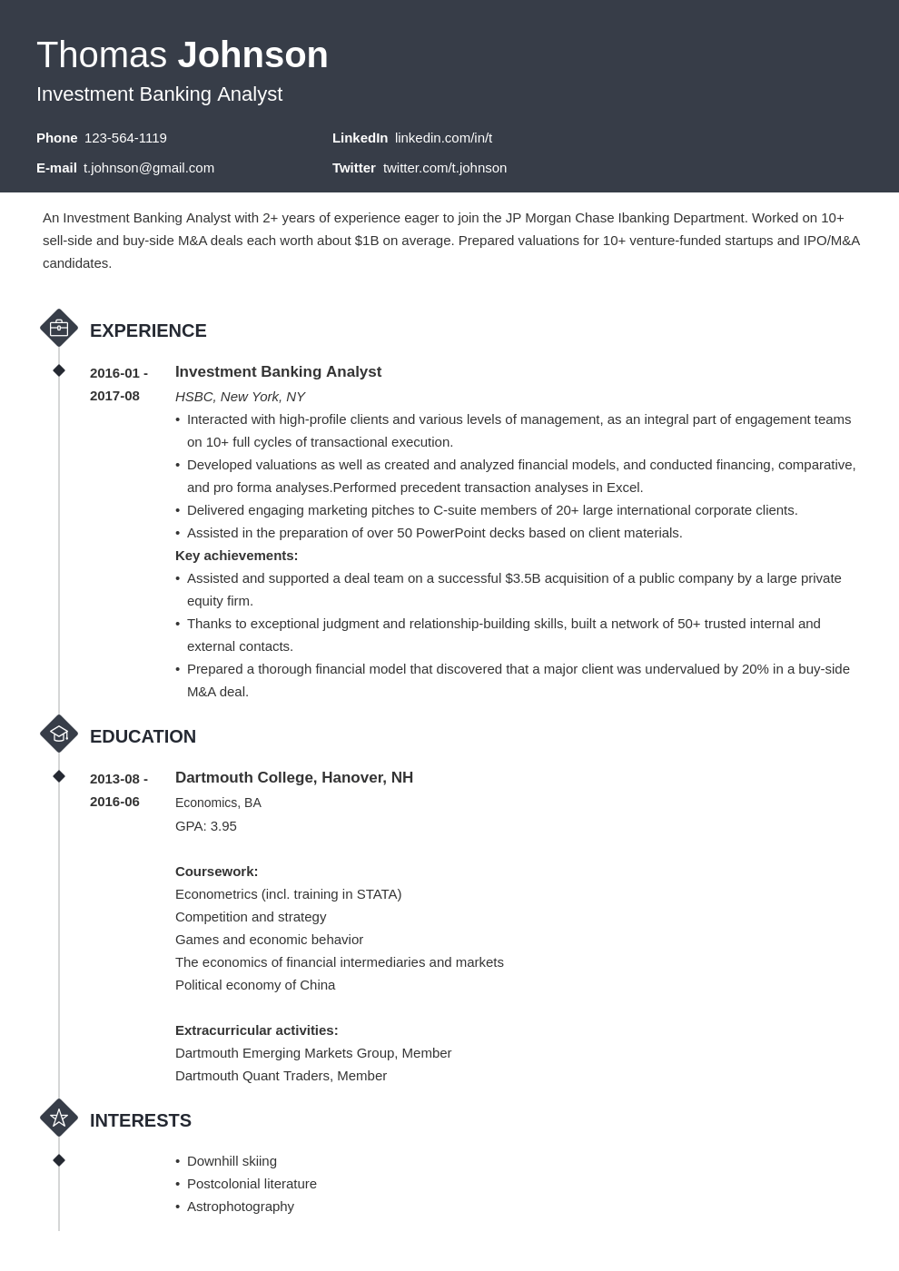 investment banker resume example template diamond