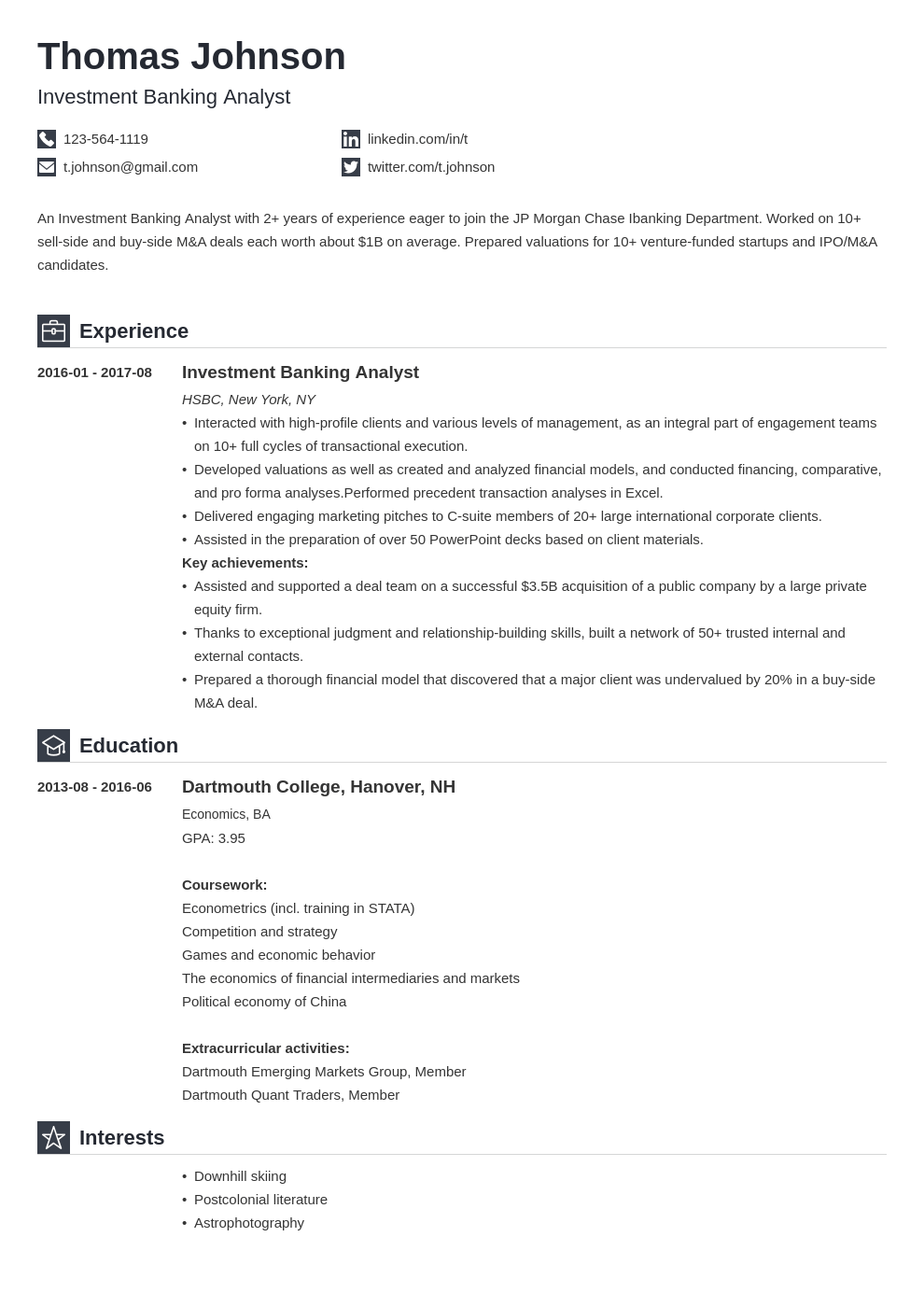 investment banking cv profile test