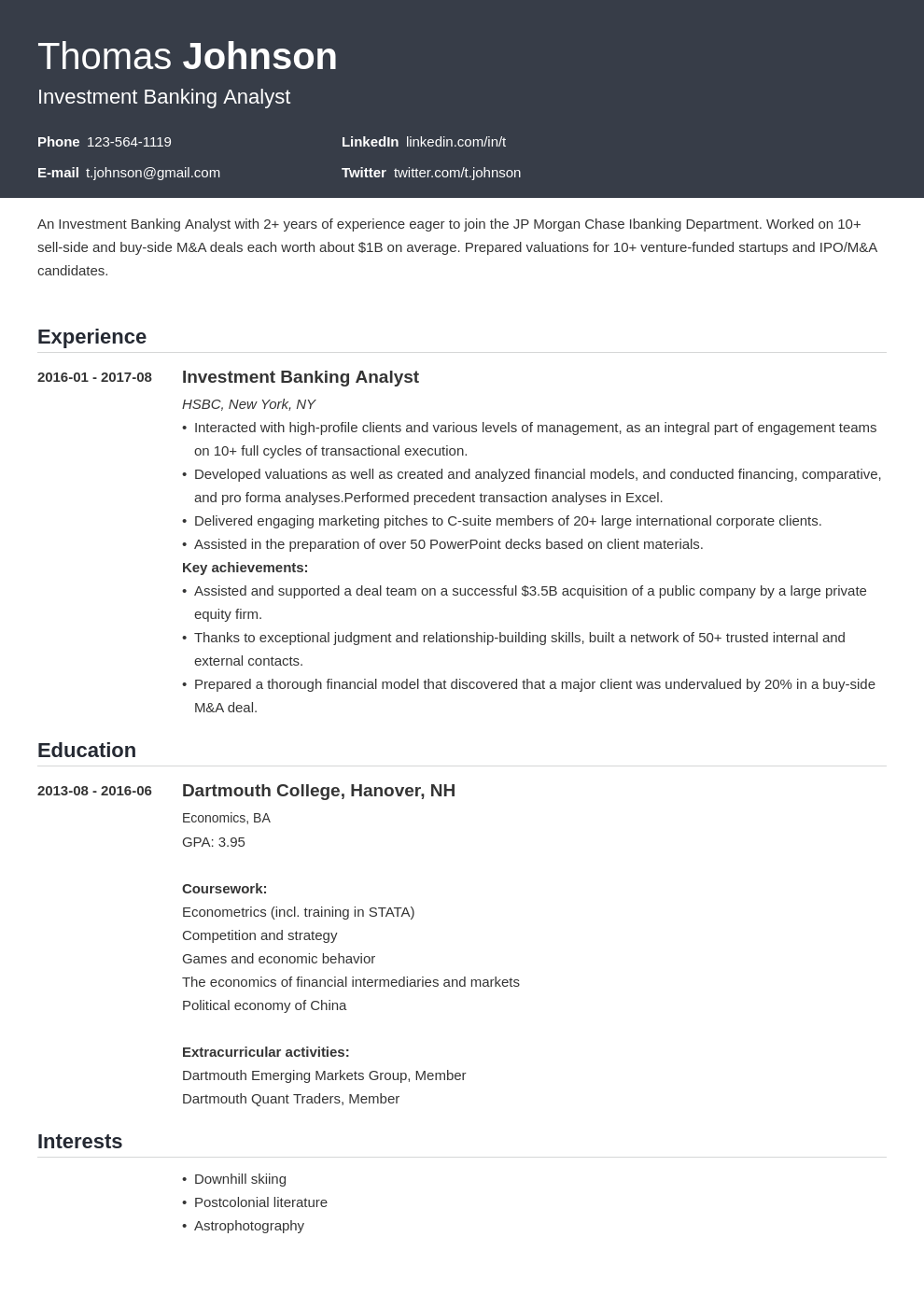 investment banker resume example template influx