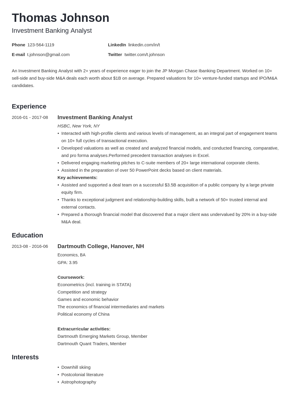 investment banker resume example template minimo
