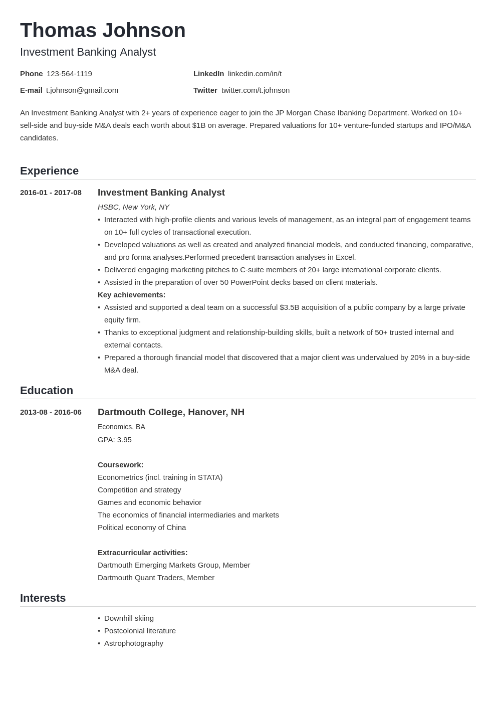 investment banker resume example template nanica
