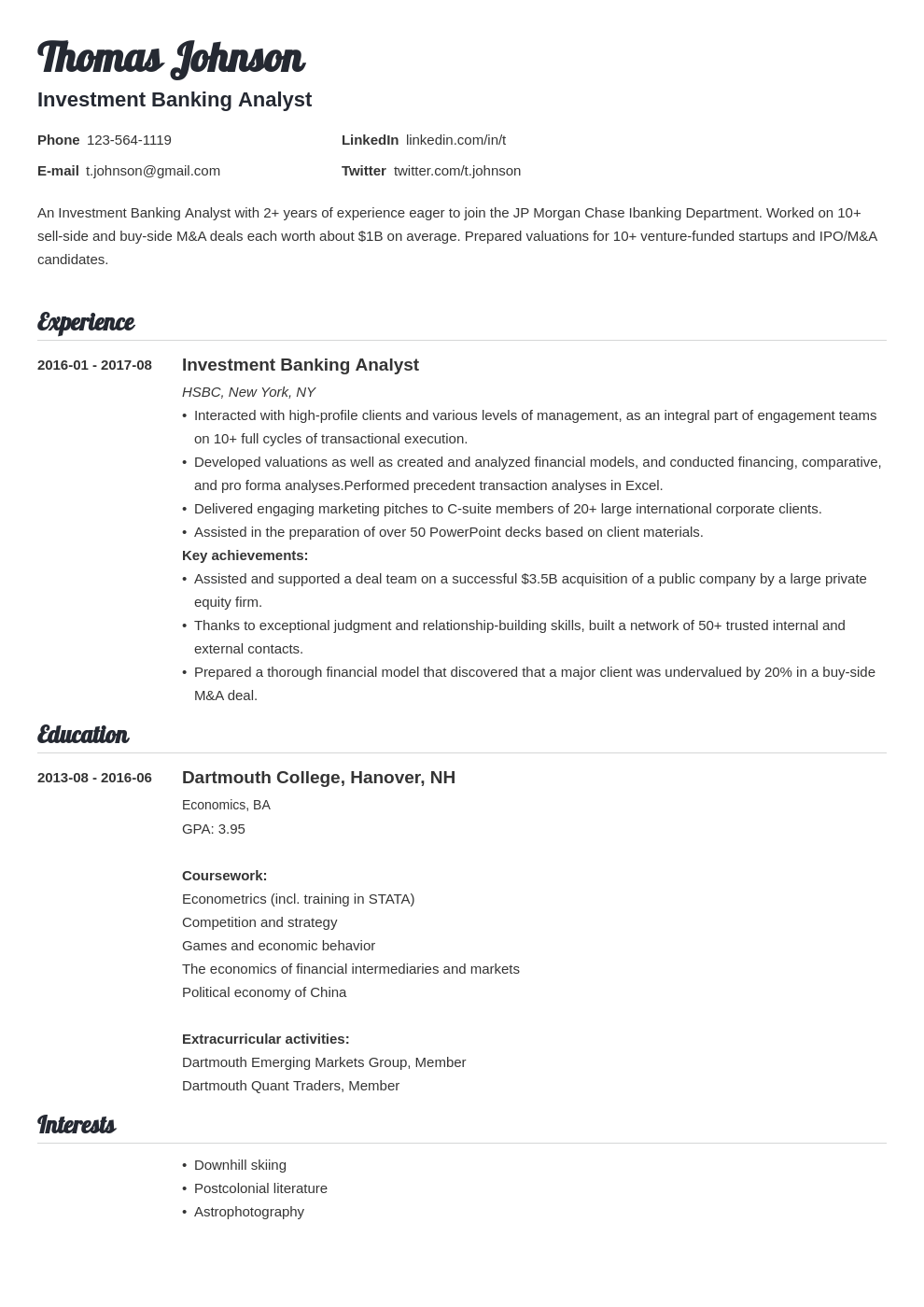 investment banker resume example template valera