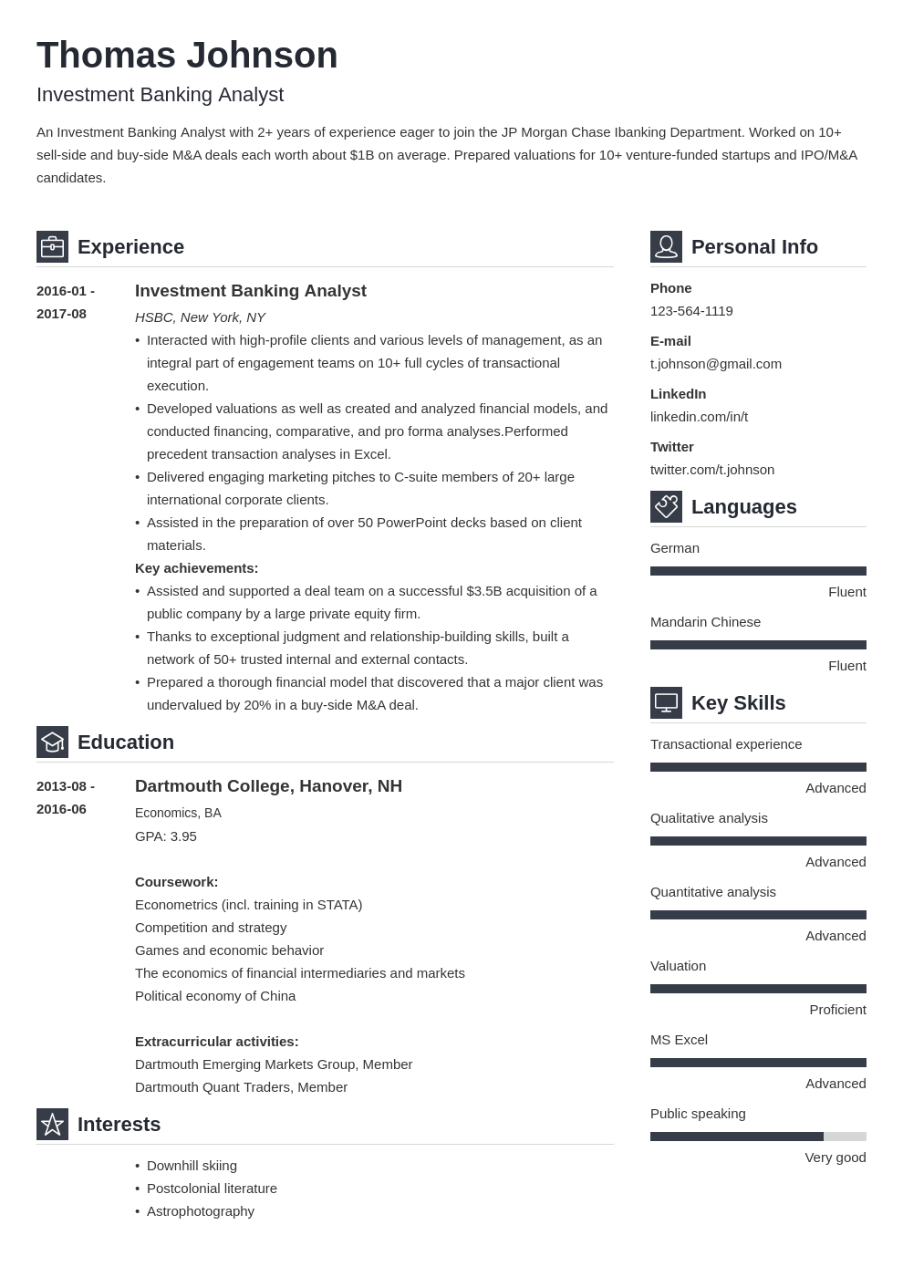 investment banker resume example template vibes