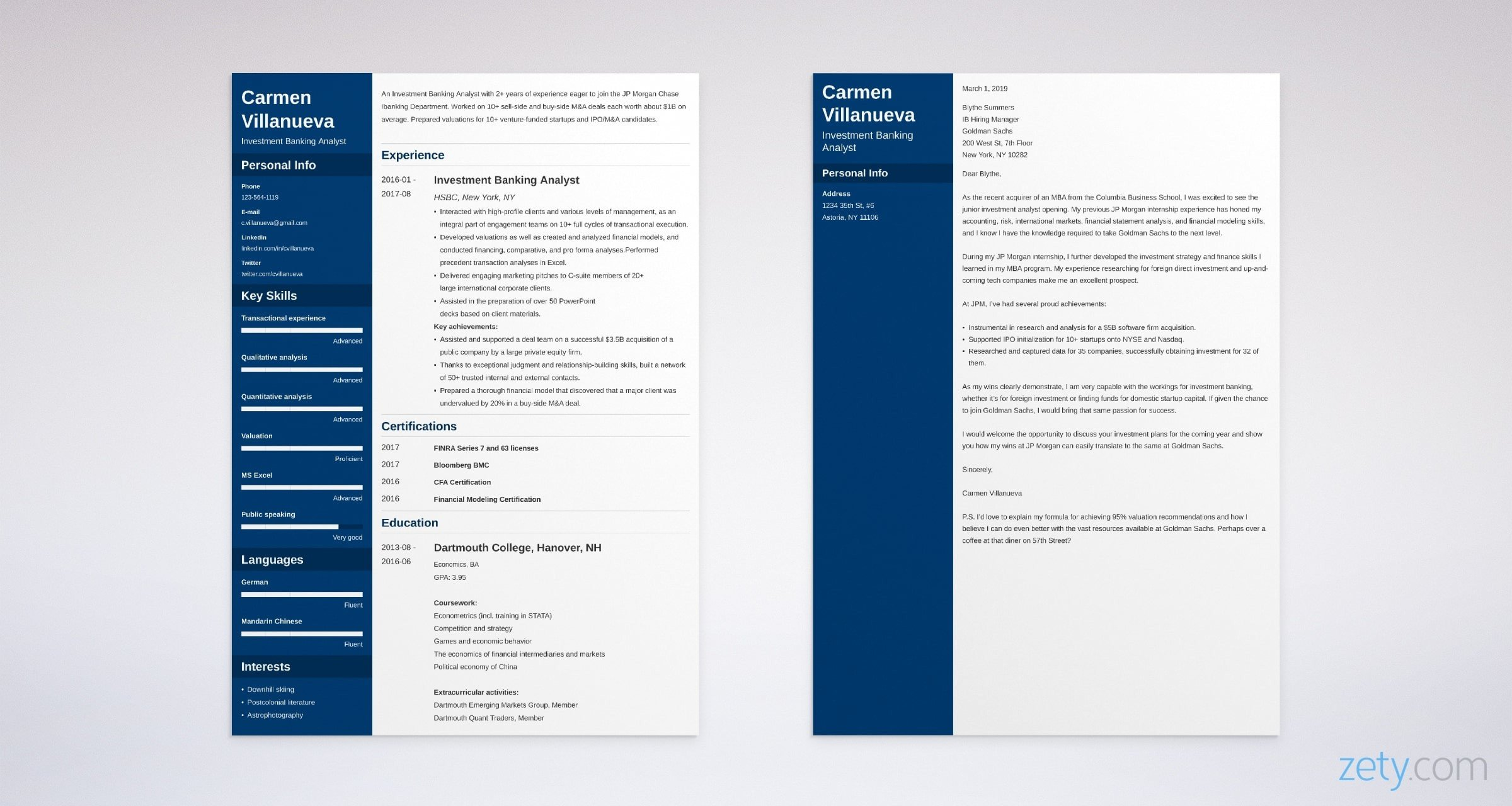 investment banking resume and cover letter set