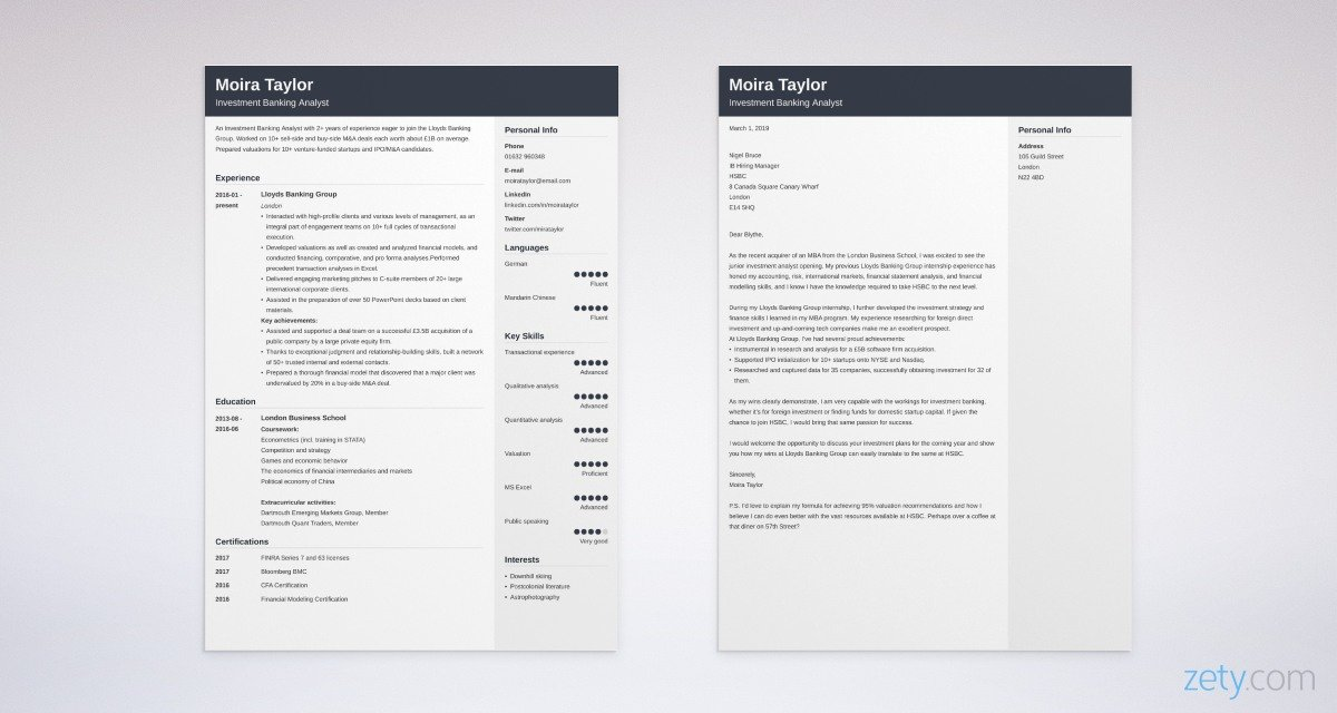 investment banking CV and cover letter set