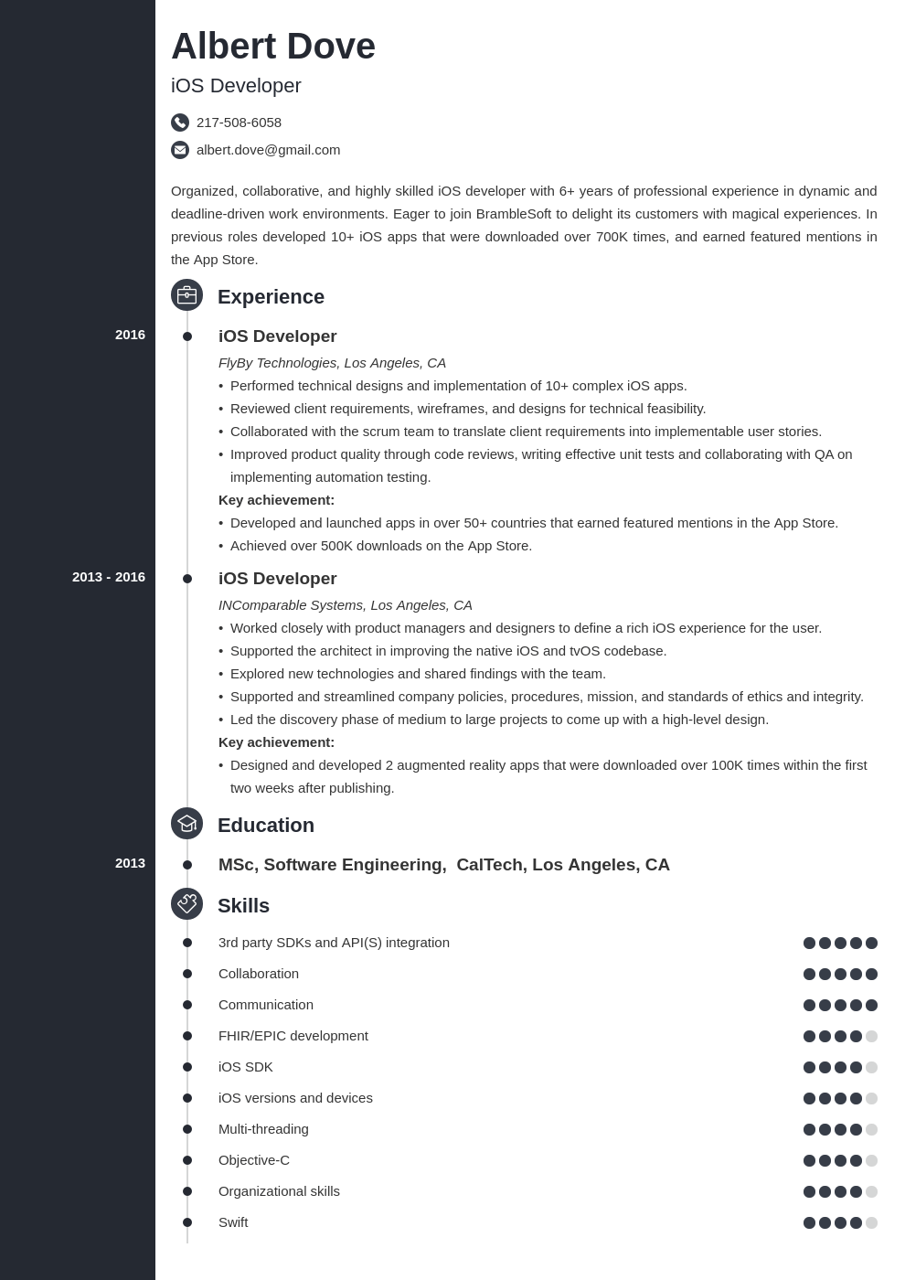 ios developer resume example template concept