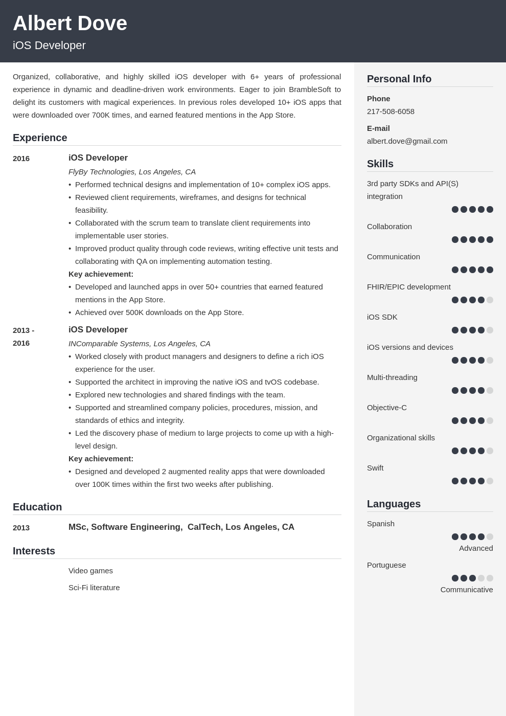 ios developer resume example template cubic