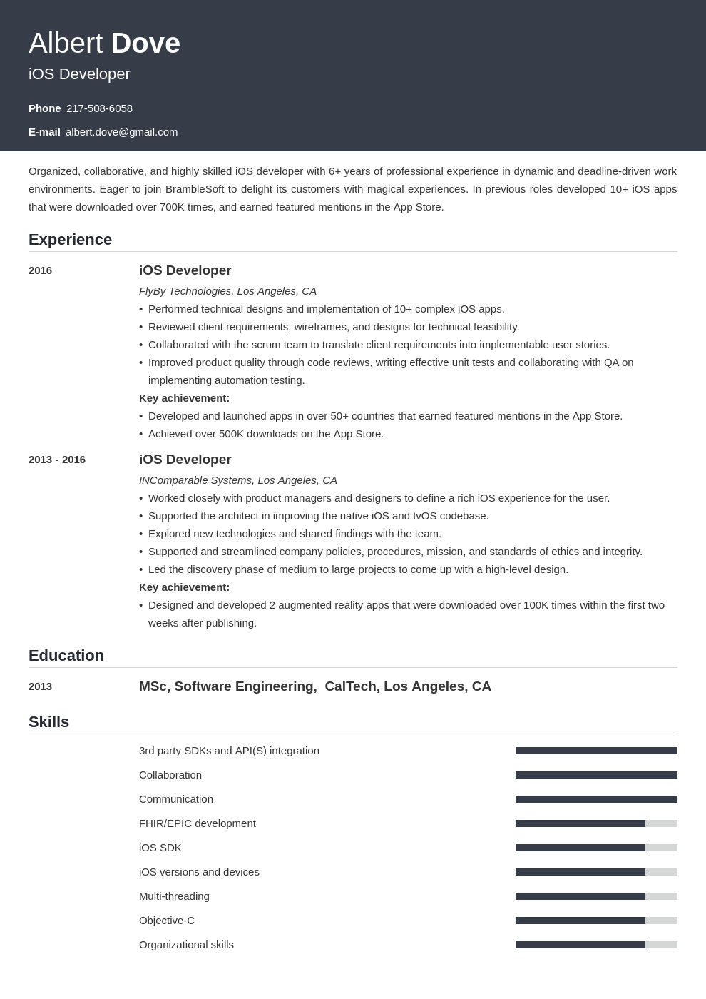 ios developer resume example template influx