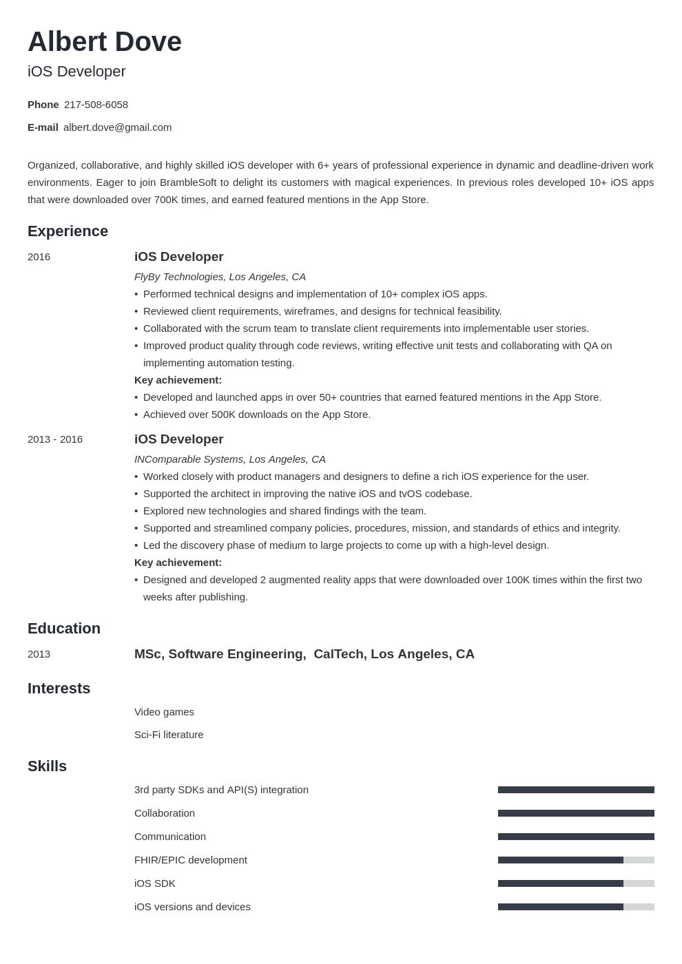 ios developer resume example template minimo