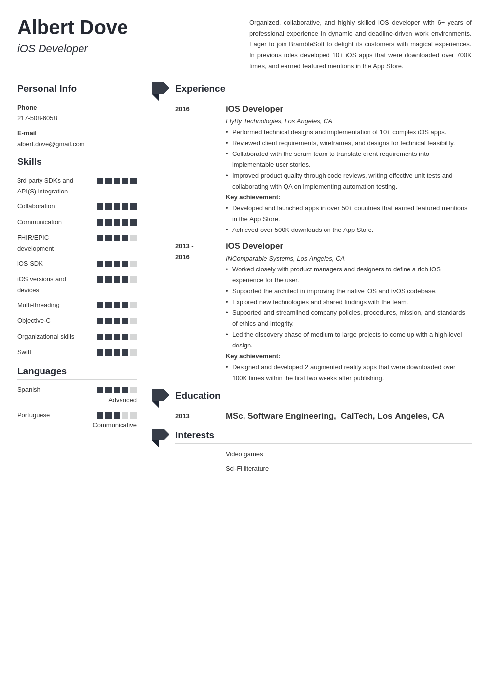 ios developer resume example template muse