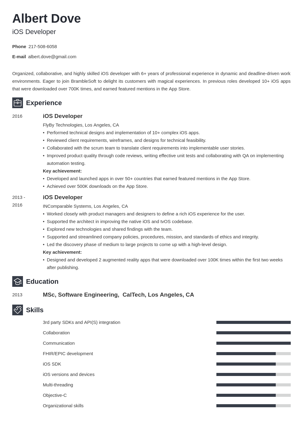 ios developer resume example template newcast