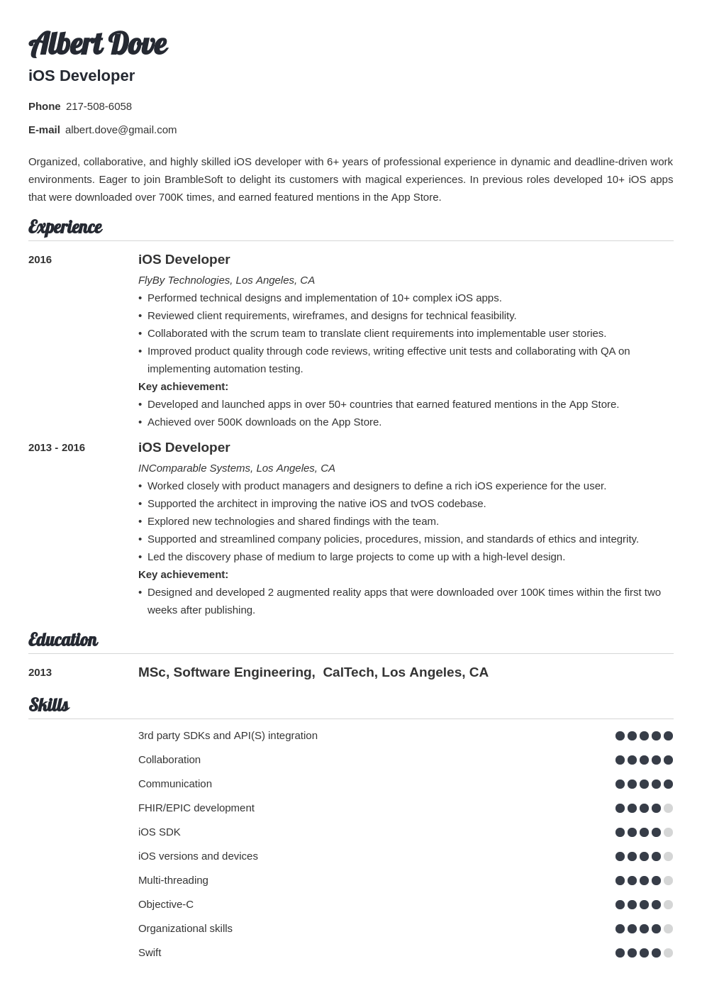 ios developer resume example template valera