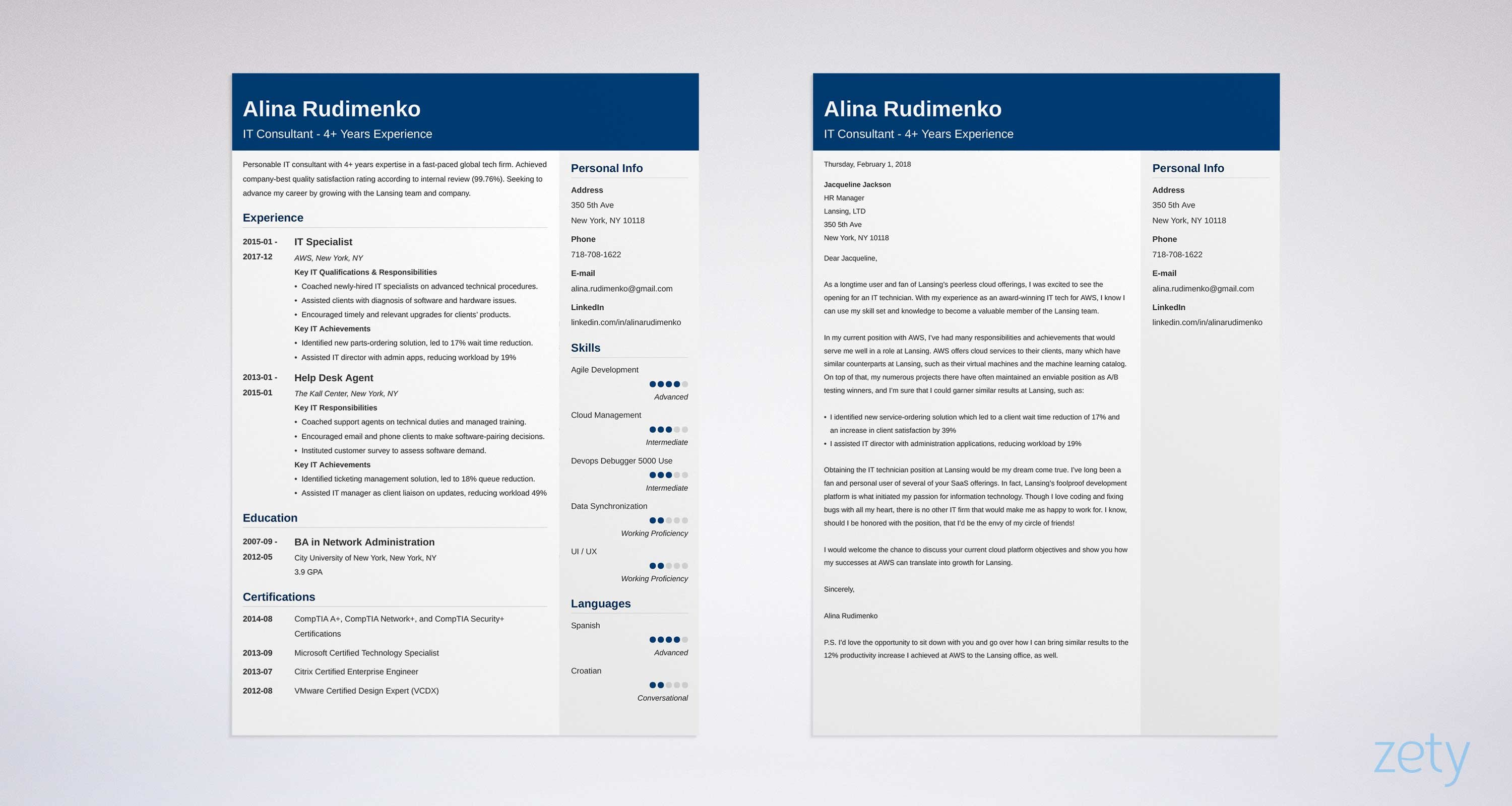 Professional It Cover Letter And Resume Samples