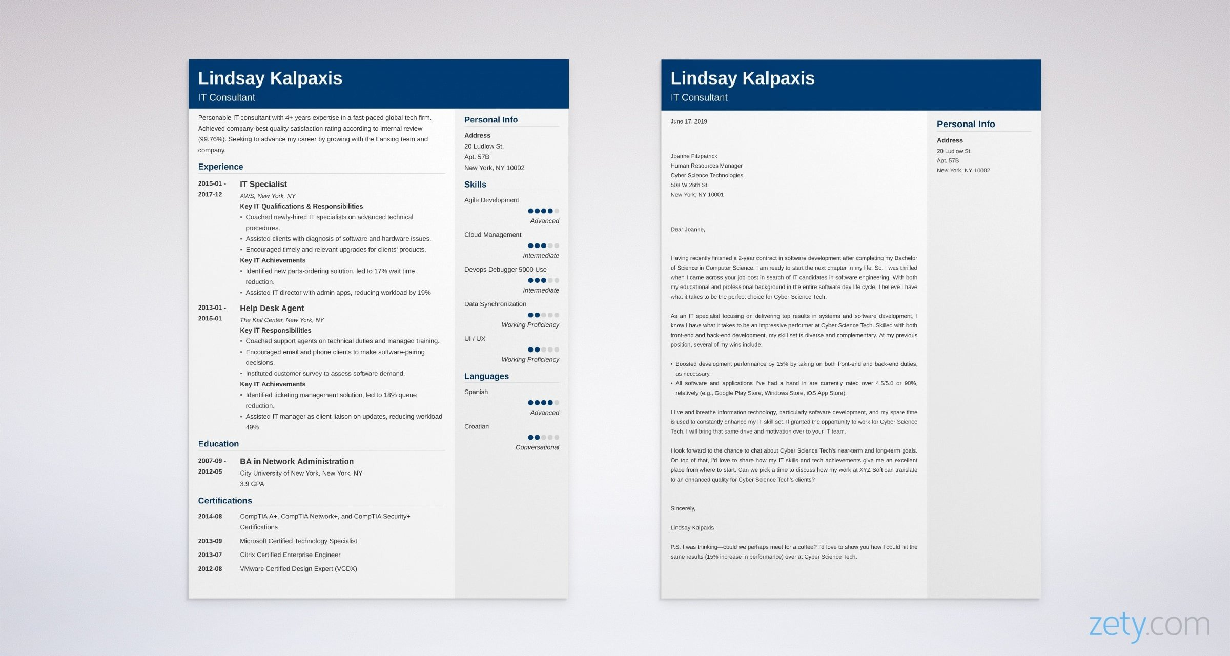 it resume and cover letter set