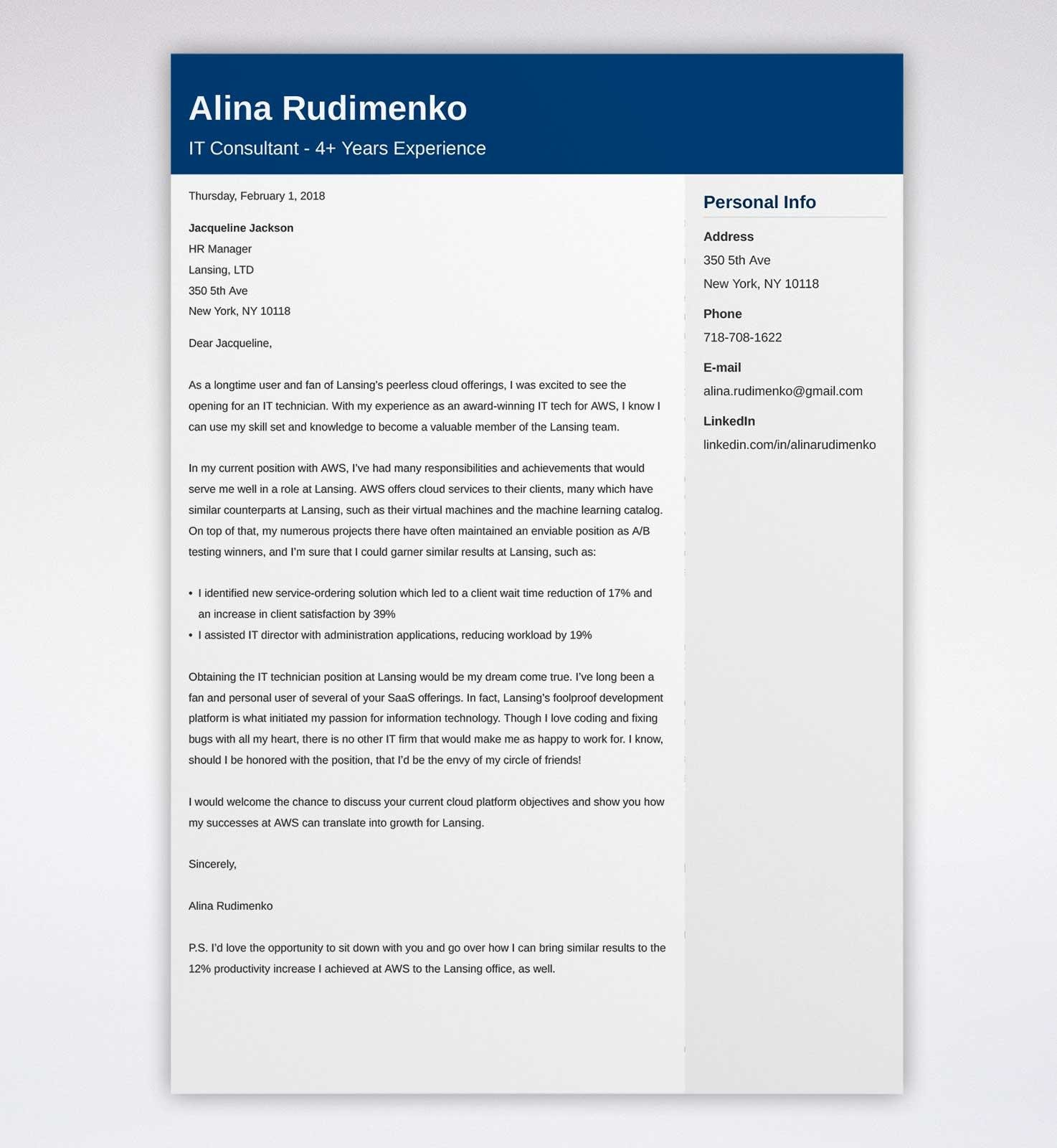 IT Cover Letter: Example & Full Guide [20 Information ...