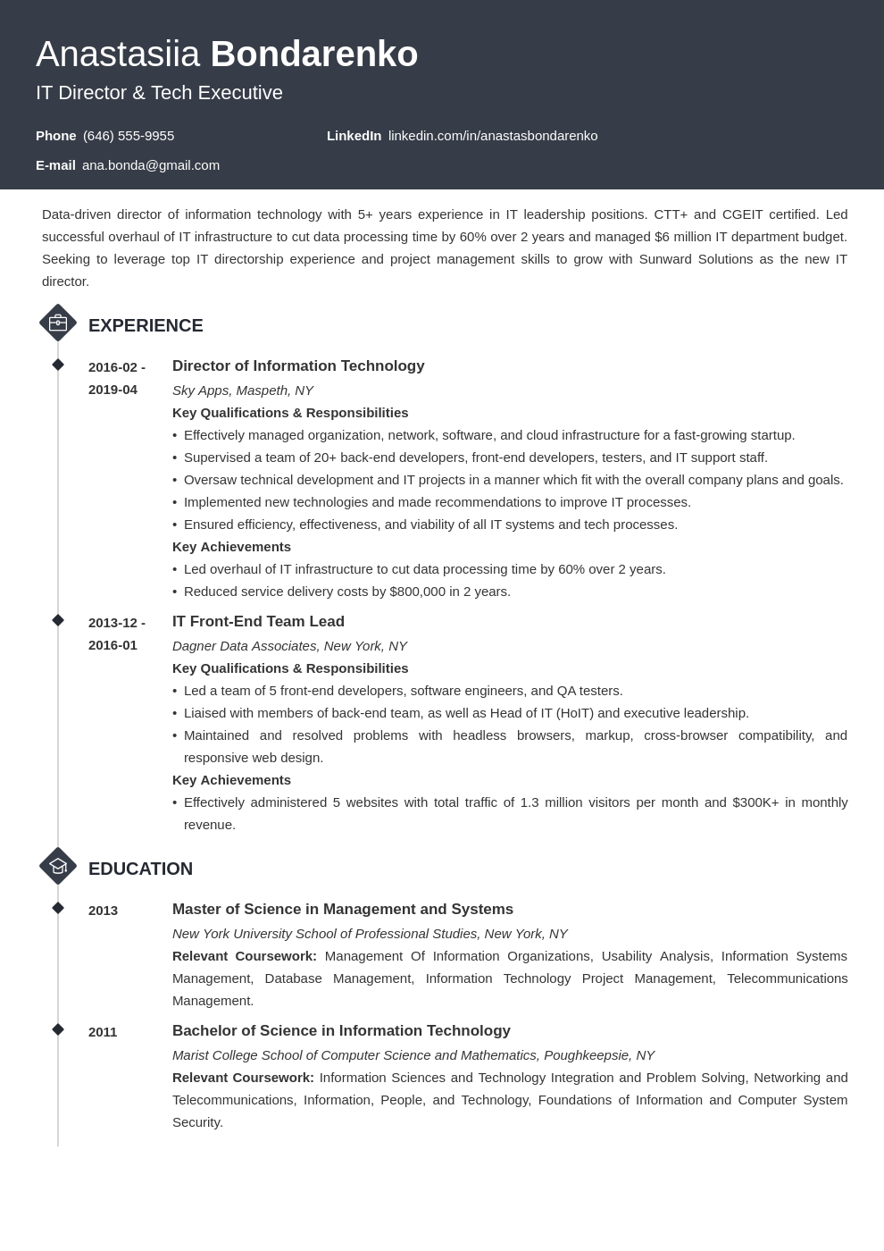 it director resume example template diamond