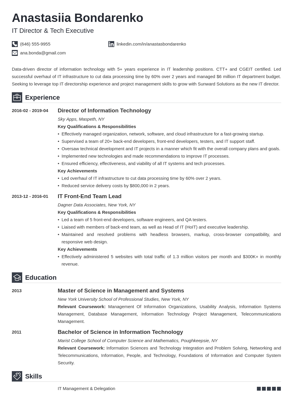it director resume example template iconic