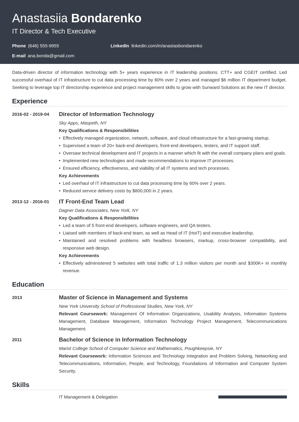 it director resume example template influx