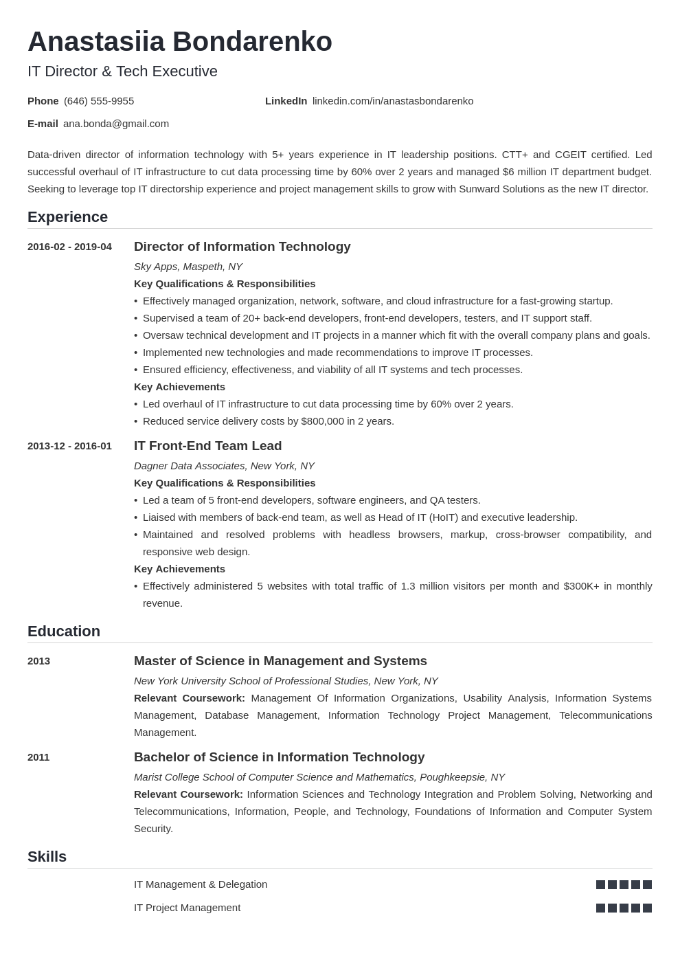it director resume example template nanica