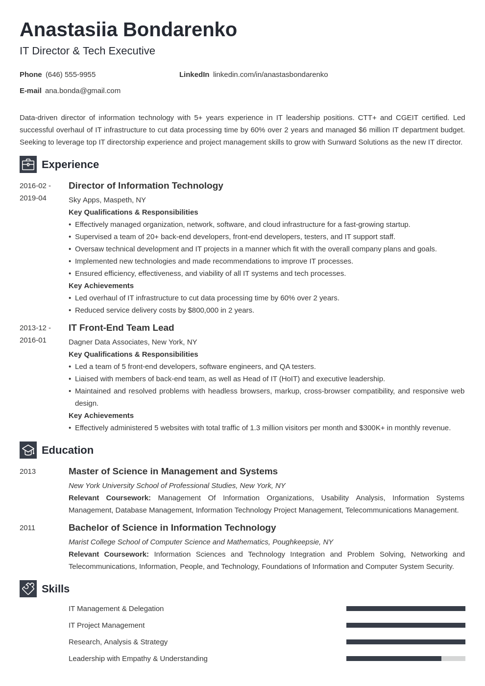 it director resume example template newcast