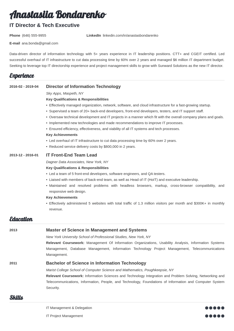 it director resume example template valera