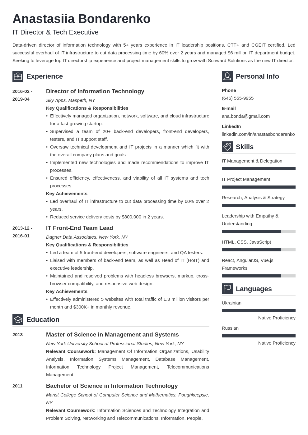 IT Director Resume: Sample & Writing Guide 20+ Tips