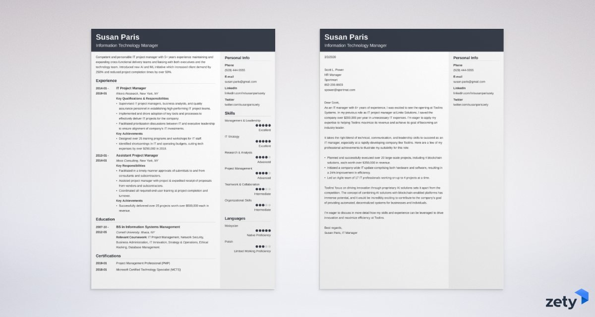 it manager resume and cover letter set