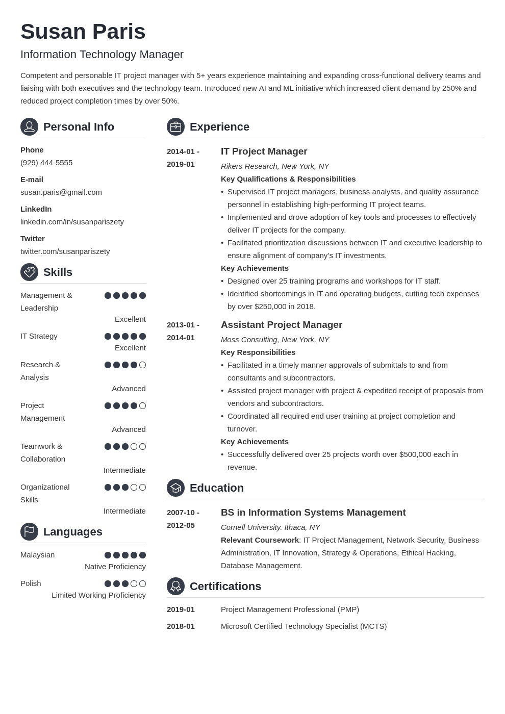 it manager resume example template crisp