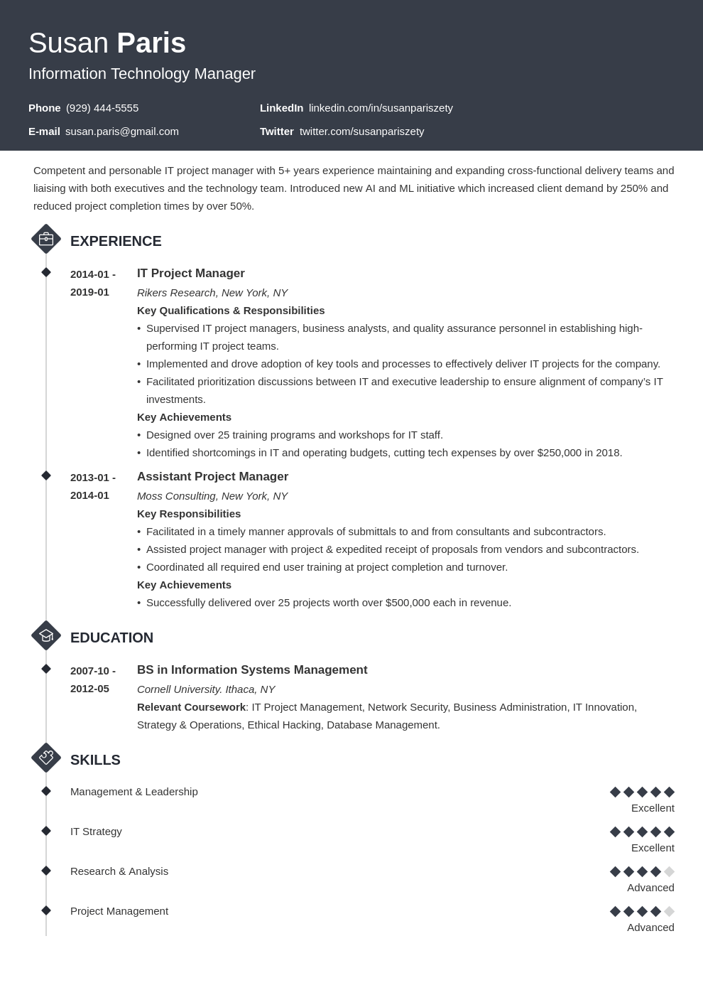 it manager resume example template diamond