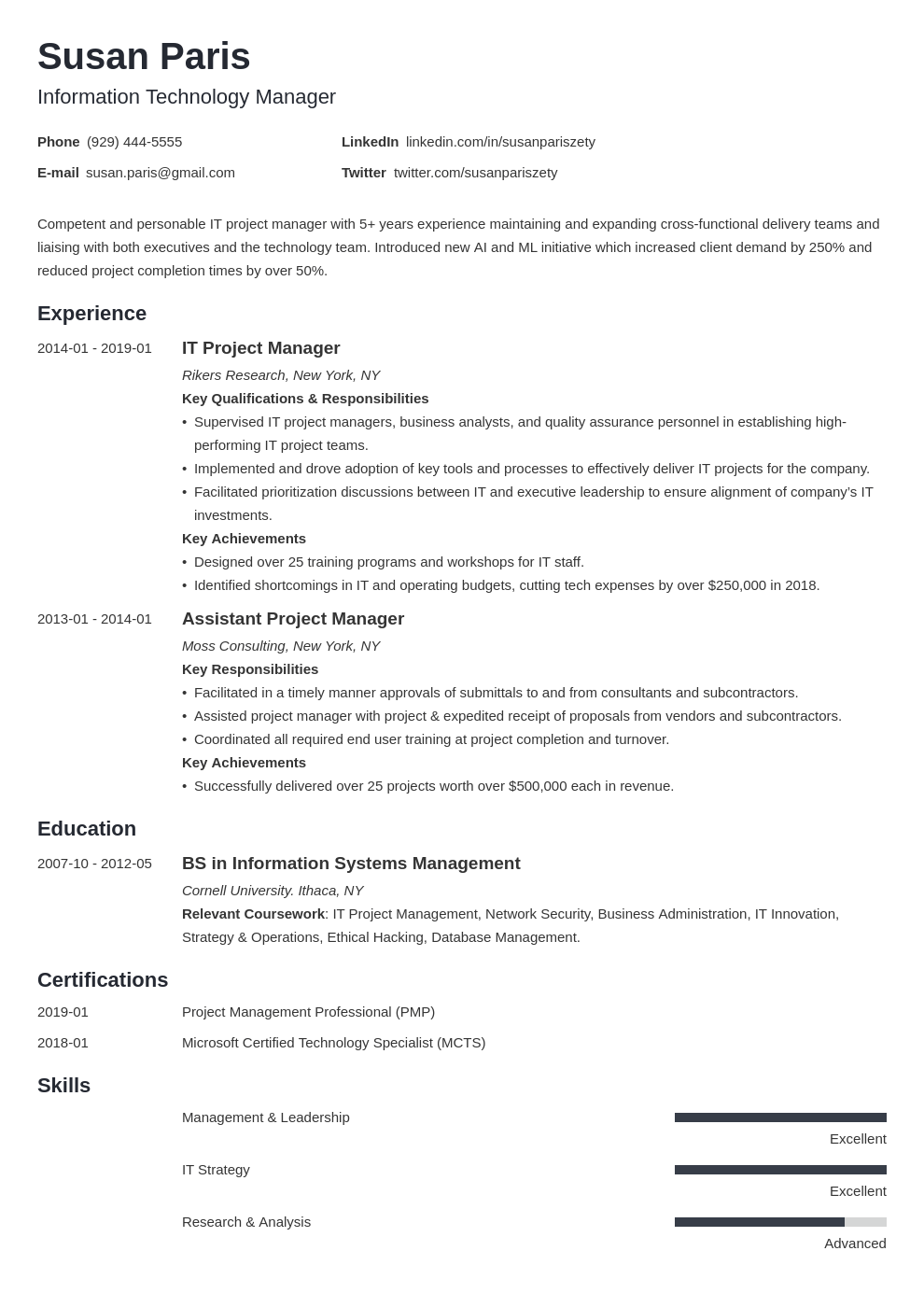it manager resume example template minimo