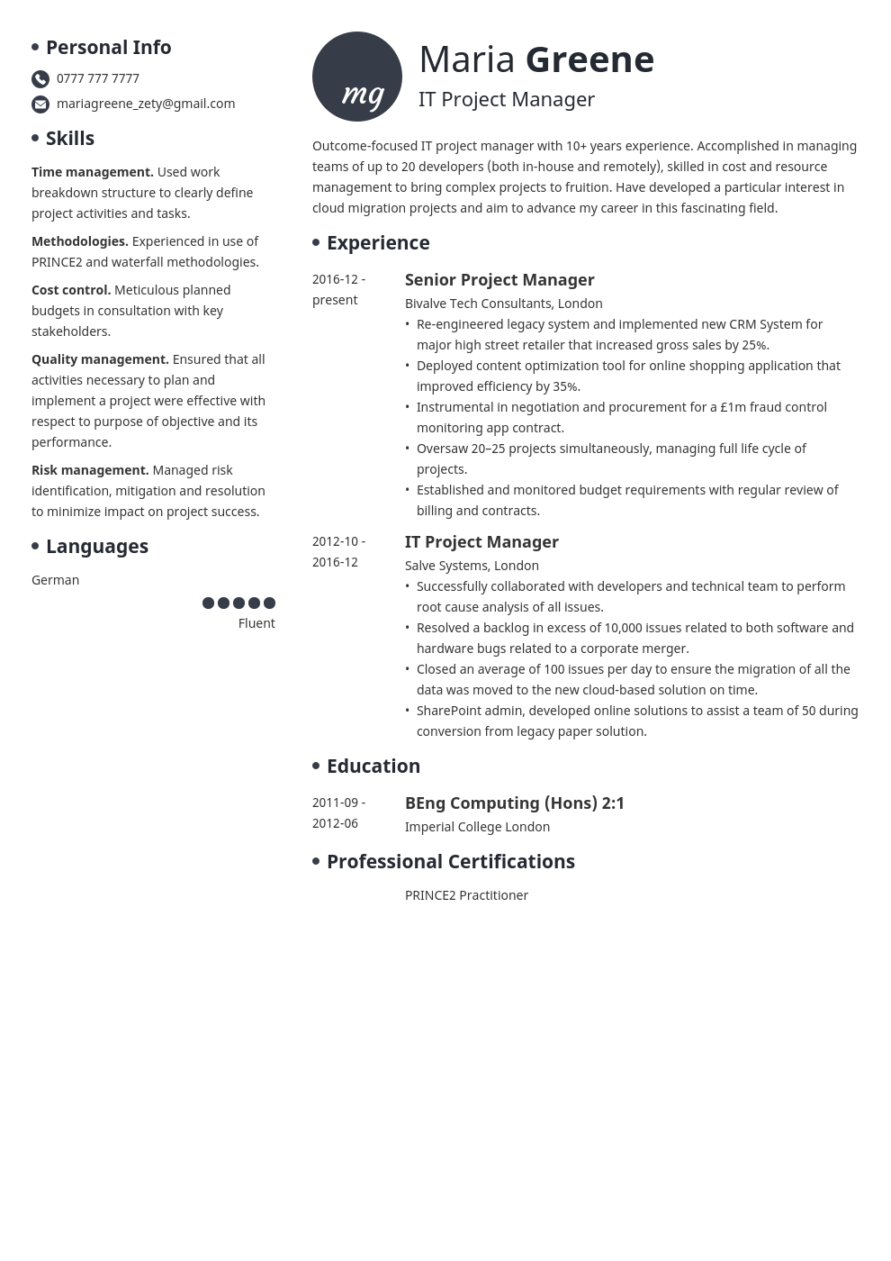 it project manager resume example template initials