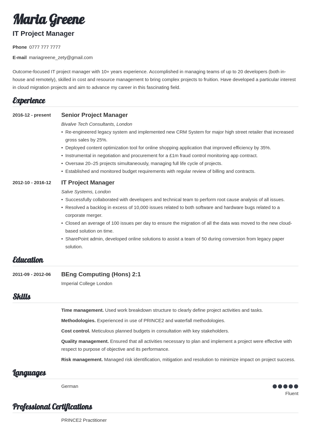 it project manager resume example template valera