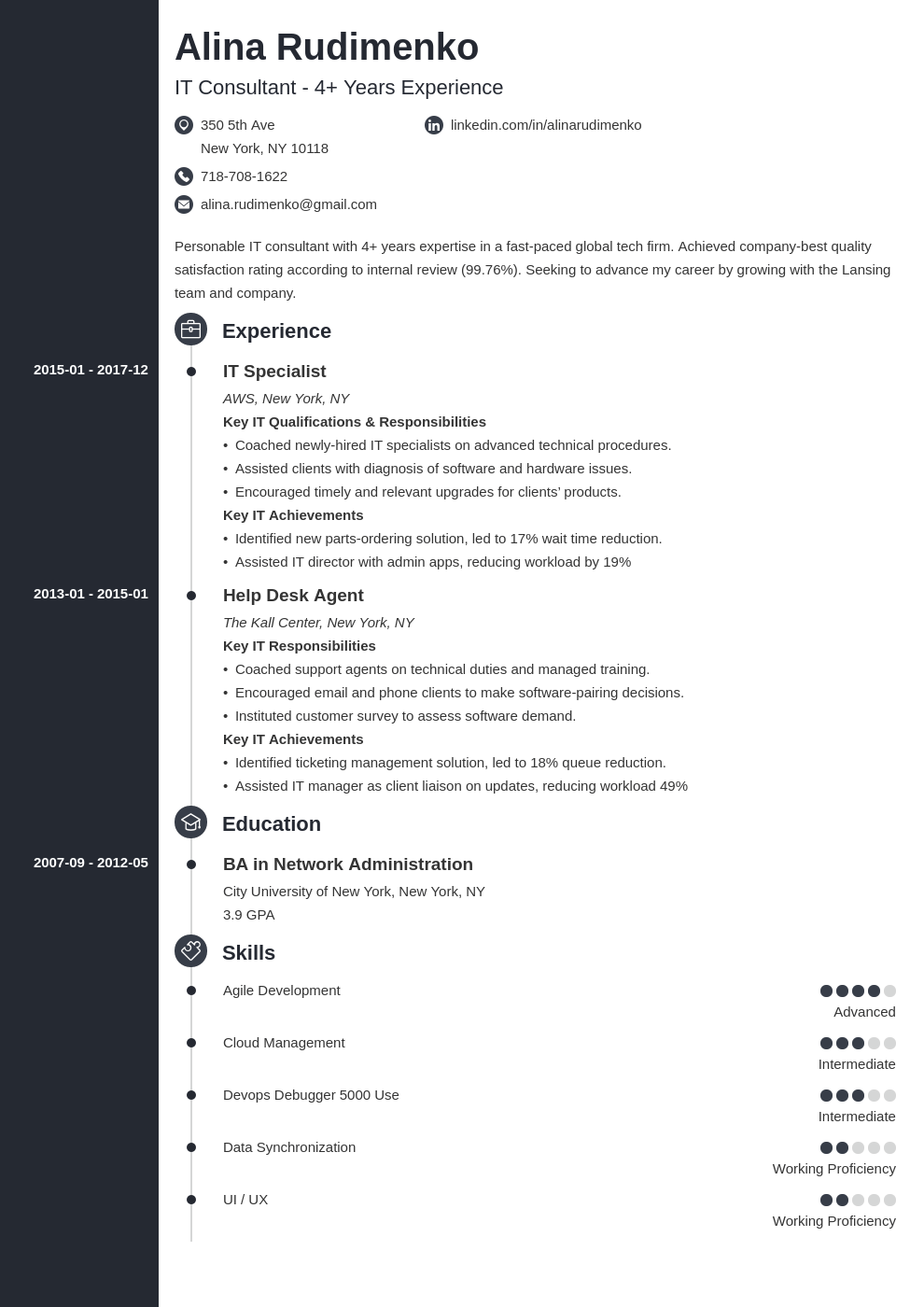 it resume example template concept