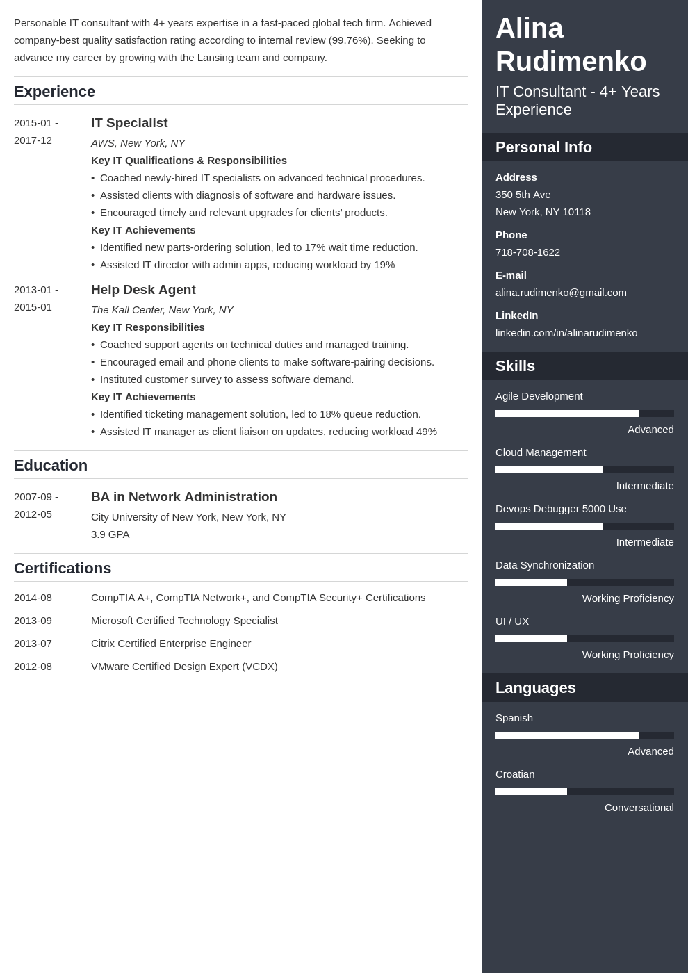 it resume example template enfold