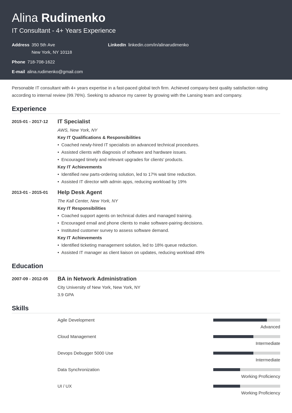 it resume example template influx